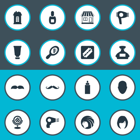 Vector Illustration Set Of Simple Barber Icons. Elements Drying Machine, Flask, Scent And Other Synonyms Looking-Glass, Beard And Girl. Illustration