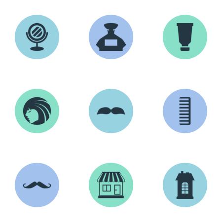 Vector illustratie Set van eenvoudige schoonheidsspecialist pictogrammen. Elementen geur, snorharen, baard en andere synoniemenbuis, snorharen en container.