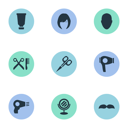 Vector Illustration Set Of Simple Hairdresser Icons. Elements Blow Dryer, Barber Tools, Cut Tool And Other Synonyms Mirror, Glass And Clipper. Reklamní fotografie - 78473638