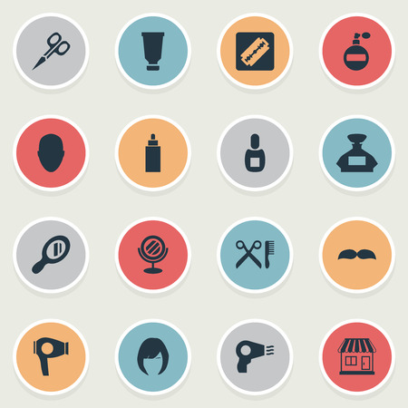 Vector Illustration Set Of Simple Beautician Icons. Elements Flask, Hair, Blow Dryer And Other Synonyms Tube, Bottle And Woman.
