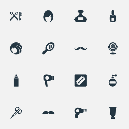 Vector Illustration Set Of Simple Barber Icons. Elements Reflector, Bottle, Container And Other Synonyms Shaver, Hair And Flask.