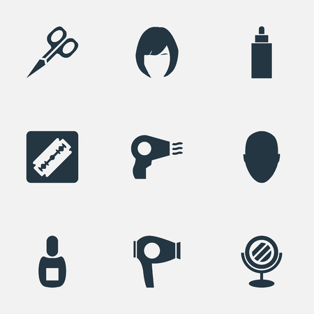 Vector Illustration Set Of Simple Beautician Icons. Elements Peeper, Blow Dryer, Container And Other Synonyms Scissors, Razor And Mirror.