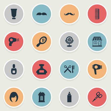 Vector Illustration Set Of Simple Barber Icons. Elements Drying Machine, Supermarket, Hackle And Other Synonyms Flask, Mustache And Tool. Ilustração
