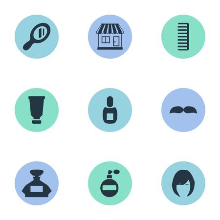 Vector illustratie Set van eenvoudige schoonheidsspecialist pictogrammen. Elementen Kolf, Hackle, Aroma En Andere Synoniemen Container, Geur En Parfum. Stock Illustratie