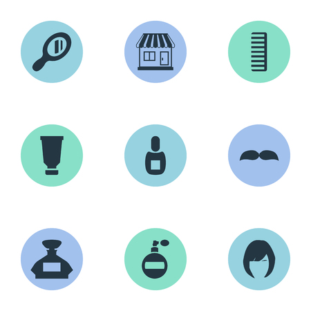 Vector Illustration Set Of Simple Beautician Icons. Elements Flask, Hackle, Aroma And Other Synonyms Container, Smell And Perfume. Çizim