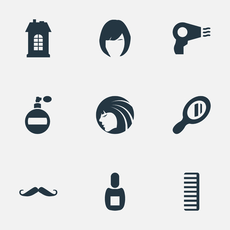 Vector Illustration Set Of Simple Barber Icons. Elements Flask, Whiskers, Reflector And Other Synonyms Construction, Comb And Mustache.