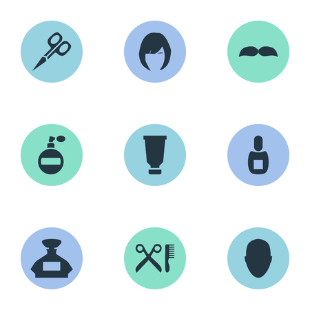 Vector Illustration Set Of Simple Barber Icons. Elements Barber Tools, Aroma, Hair And Other Synonyms Container, Smell And Tube.