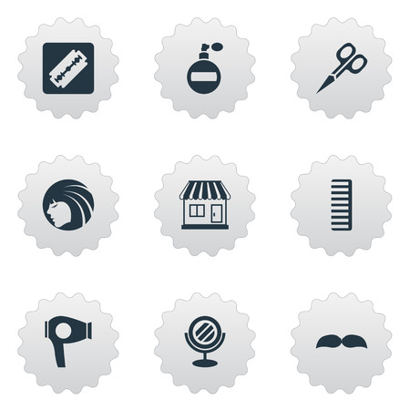 Vector Illustration Set Of Simple Beautician Icons. Elements Supermarket, Cut Tool, Peeper And Other Synonyms Girl, Razor And Smell.