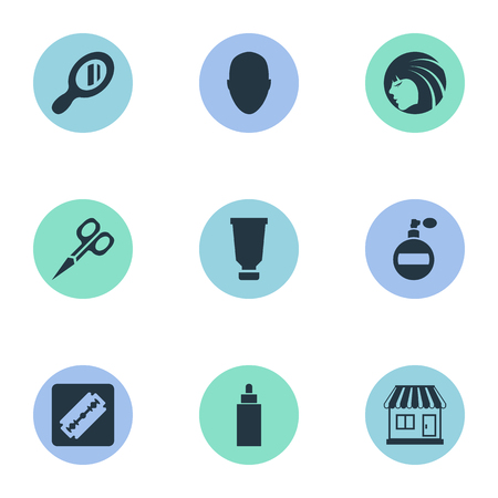 Vector Illustration Set Of Simple Barber Icons. Elements Cut Tool, Reflector, Shaver And Other Synonyms Tool, Perfume And Head.