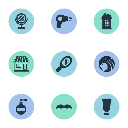 Vector Illustration Set Of Simple Hairdresser Icons. Elements Premises, Bottle, Supermarket And Other Synonyms Tube, Glass And Looking-Glass.