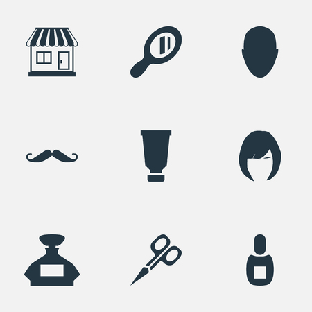 Vector Illustration Set Of Simple Barber Icons. Elements Scent, Reflector, Whiskers And Other Synonyms Head, Man And Supermarket.