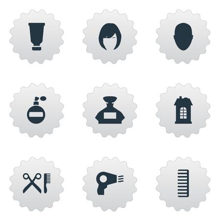 Vector illustratie Set van eenvoudige schoonheidsspecialist pictogrammen. Elements Barber Tools, Premises, Human And Other Synoniemen Container, hoofd en geur. Stock Illustratie
