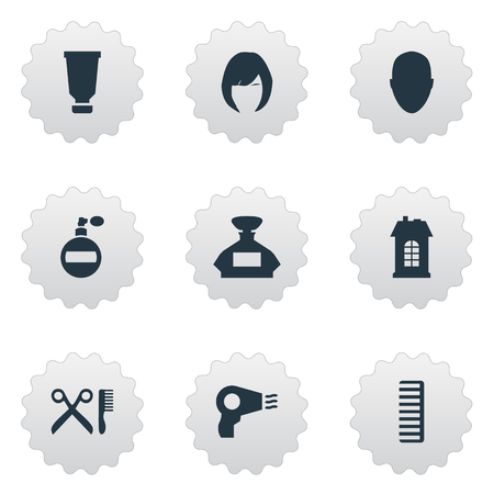 Vector Illustration Set Of Simple Beautician Icons. Elements Barber Tools, Premises, Human And Other Synonyms Container, Head And Smell. Illusztráció