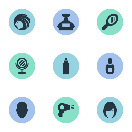 Vector Illustration Set Of Simple Hairdresser Icons. Elements Flask, Blow Dryer, Peeper And Other Synonyms Container, Reflector And Tube.