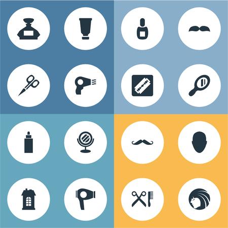 Vector illustratie Set van eenvoudige schoonheidsspecialist pictogrammen. Elementen-container, droogmachine, snorharen en andere synoniemenschaar, scheermes en herenkapper.