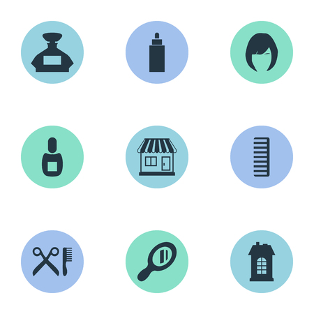Vector Illustration Set Of Simple Hairdresser Icons. Elements Supermarket, Premises, Reflector And Other Synonyms Perfume, Architecture And Bottle.