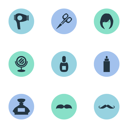 Vector Illustration Set Of Simple Barber Icons. Elements Drying Machine, Beard, Container And Other Synonyms Flask, Perfume And Container. Illustration