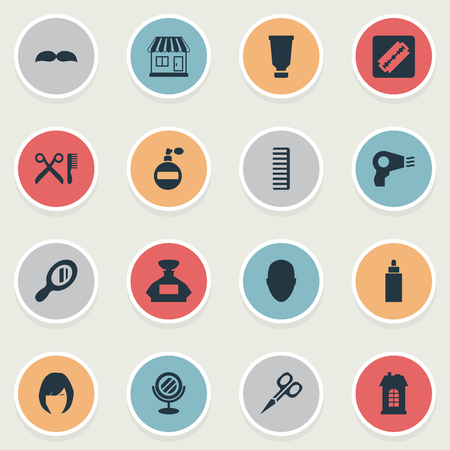 Vector Illustration Set Of Simple Hairdresser Icons. Elements Aroma, Supermarket, Container And Other Synonyms Perfume, Construction And Male.