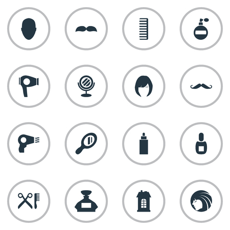 Vector Illustration Set Of Simple Beautician Icons. Elements Container, Aroma, Hair And Other Synonyms Reflector, Glass And Scent. Illusztráció