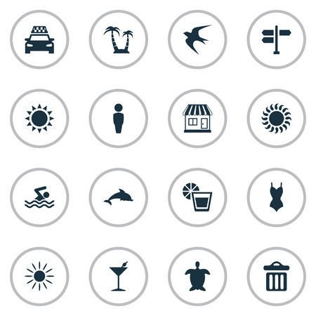 Vector Illustration Set Of Simple Beach Icons. Elements Garbage, Crossroad, Bikini And Other Synonyms Summer, Swimming And Cab.