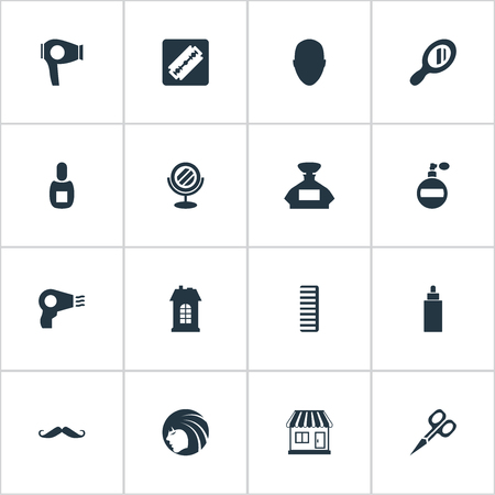 Vector Illustration Set Of Simple Beautician Icons. Elements Peeper, Reflector, Container And Other Synonyms Tool, Store And Construction. Ilustrace
