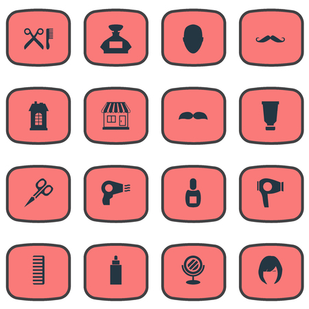 Vector Illustration Set Of Simple Hairdresser Icons. Elements Hair, Premises, Cut Tool And Other Synonyms Scissors, Container And Glass. Ilustracja