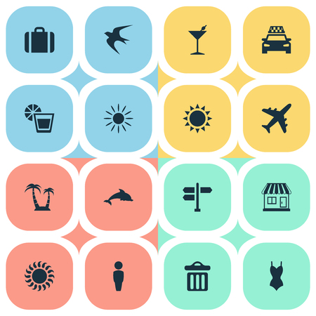 Vector Illustration Set Of Simple Seaside Icons. Elements Sunlight, Store, Beverage And Other Synonyms Store, Junction And Cocktail. Illustration