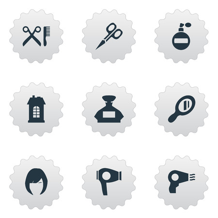 Vector Illustration Set Of Simple Hairdresser Icons. Elements Cut Tool, Reflector, Barber Tools And Other Synonyms Perfume, Construction And Reflector.