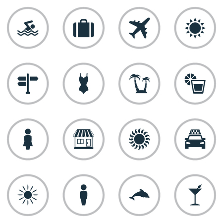 Vector Illustration Set Of Simple Seaside Icons. Elements Swimming Man, Cocktail, Palm And Other Synonyms Island, Beachwear And Missus.