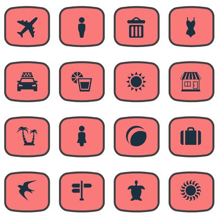 Vector illustratie Set van eenvoudige strand pictogrammen. Elementen Schildpad, Zwaluw, Vliegtuig en Andere synoniemen Man, avontuur en zomer.