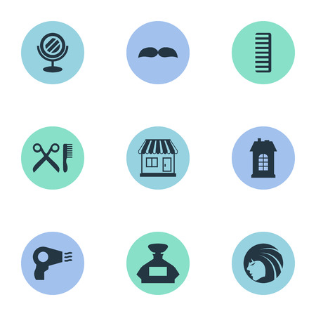 Vector Illustration Set Of Simple Beautician Icons. Elements Scent, Supermarket, Beard And Other Synonyms Hairdryer, Construction And Supermarket.
