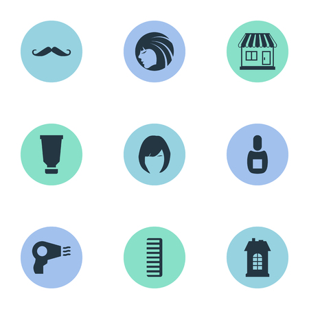 Vector Illustration Set Of Simple Beautician Icons. Elements Hackle, Blow Dryer, Bottle And Other Synonyms Beautiful, Woman And Construction.
