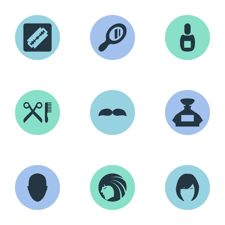Vector Illustration Set Of Simple Beautician Icons. Elements Human, Scent, Hair And Other Synonyms Barbershop, Girl And Perfume.