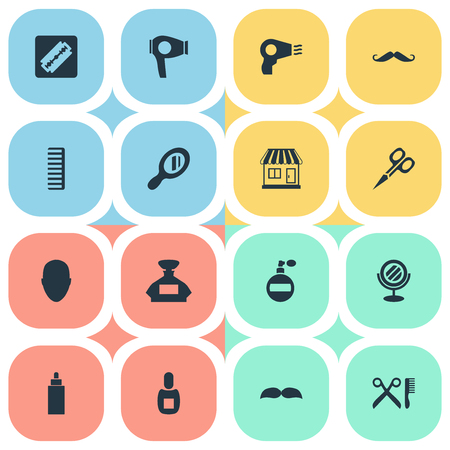 Vector Illustration Set Of Simple Beautician Icons. Elements Shaver, Blow Dryer, Human And Other Synonyms Aroma, Man And Tube.