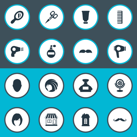 Vector Illustration Set Of Simple Beautician Icons. Elements Supermarket, Drying Machine, Glamour Lady And Other Synonyms Odor, Tool And Drying. Illustration