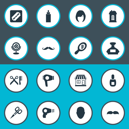 Vector Illustration Set Of Simple Beautician Icons. Elements Premises, Supermarket, Drying Machine And Other Synonyms Clipper, Man And Looking-Glass. Ilustracja