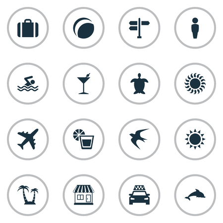 Set Of Simple Beach Icons.