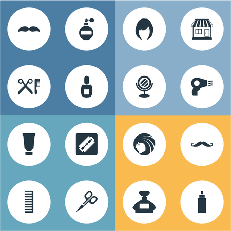 Vector Illustration Set Of Simple Beautician Icons. Elements Barber Tools, Bottle, Blow Dryer And Other Synonyms Lady, Smell And Supermarket. Ilustrace