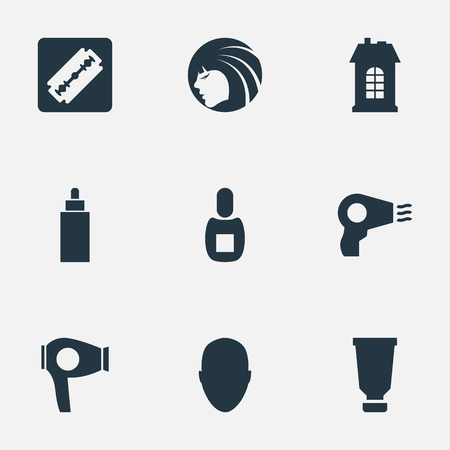 Vector Illustration Set Of Simple Beautician Icons. Elements Drying Machine, Shaver, Human And Other Synonyms Architecture, Man And Girl.