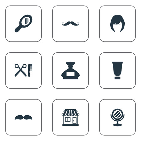 Vector Illustration Set Of Simple Barber Icons. Elements Hair, Reflector, Beard And Other Synonyms Barbershop, Whiskers And Mirror.