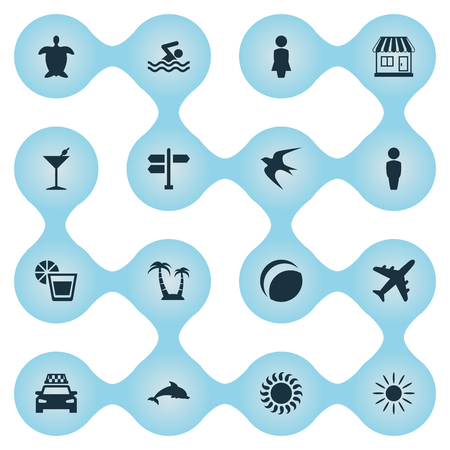 Vector Illustration Set Of Simple Beach Icons. Elements Cocktail, Beach Games, Mammal Fish And Other Synonyms Ball, Games And Trip. 向量圖像