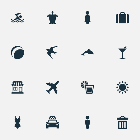 Vector Illustration Set Of Simple Beach Icons. Elements Suitcase, Airplane, Taxi And Other Synonyms Beverage, Dustbin And Summer. Ilustração