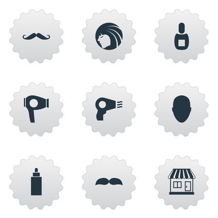 Vector Illustration Set Of Simple Hairdresser Icons. Elements Container, Human, Blow Dryer And Other Synonyms Man, Lady And Machine. Ilustracja