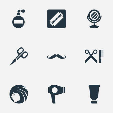 Vector Illustration Set Of Simple Barber Icons. Elements Barber Tools, Shaver, Bottle And Other Synonyms Barbershop, Razor And Mustache. Çizim