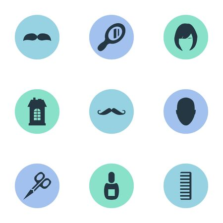 Vector Illustration Set Of Simple Beautician Icons. Elements Flask, Cut Tool, Beard And Other Synonyms Bottle, Woman And Reflector.