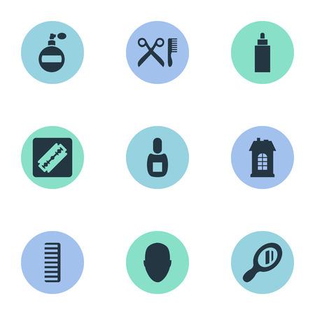 Vector illustratie Set van eenvoudige kapper pictogrammen. Elements Barber Tools, Flask, Shaver And Other Synoniemen Head, Perfume And Smell.