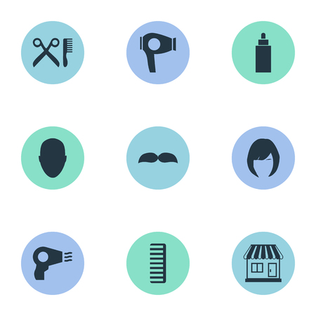 Vector Illustration Set Of Simple Beautician Icons. Elements Human, Container, Beard And Other Synonyms Store, Hairdryer And Woman. Reklamní fotografie - 78444459
