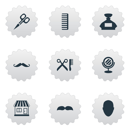 Vector Illustration Set Of Simple Hairdresser Icons. Elements Human, Peeper, Cut Tool And Other Synonyms Hackle, Head And Mirror.