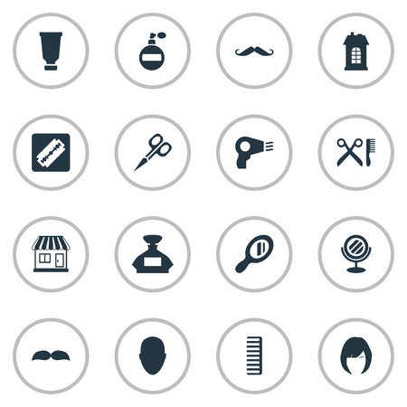 Vector Illustration Set Of Simple Barber Icons. Elements Hackle, Whiskers, Bottle And Other Synonyms Glass, Construction And Scissors. Illustration