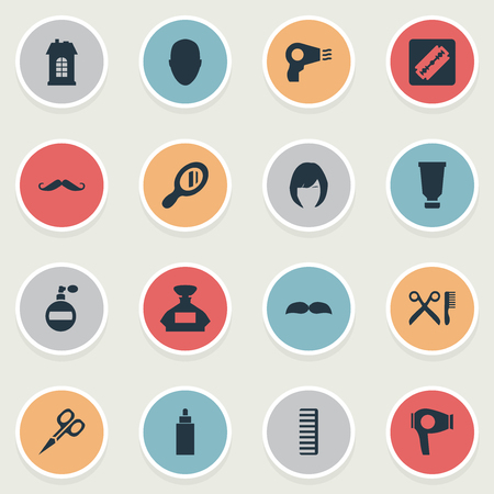 Vector Illustration Set Of Simple Hairdresser Icons. Elements Cut Tool, Container, Aroma And Other Synonyms Tube, Drying And Woman.